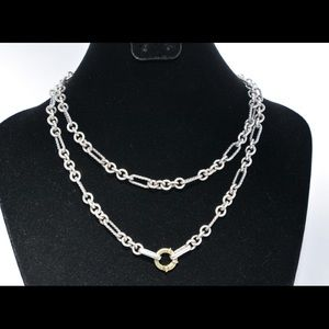 David Yurman Sterling and Gold Figaro Necklace 32""